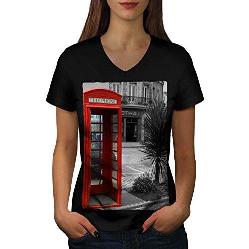 telephone-cabin-uk-communication-women-new-black-m-v-neck-t-shirt-wellcoda