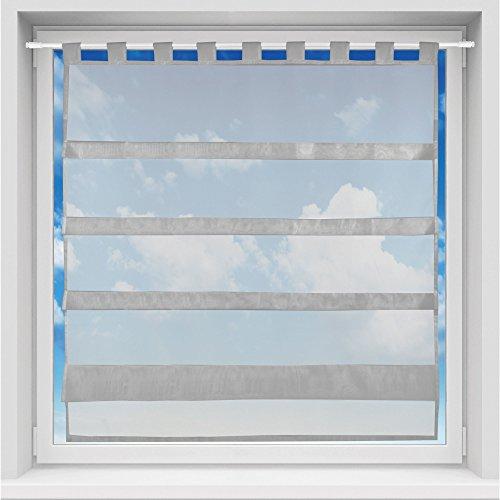 Bistrogardine in transparent mit Raffoptik, einfarbige und lichtdurchlässige Voile-Scheibengardine mit Schlaufe, in vielen verschiedenen Farben und Größen verfügbar (100 x 110 cm / grau - silbergrau)