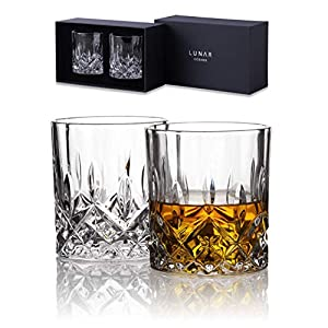 Kristall Whiskeygläser von Lunar Oceans. Set von 2 Blei FREI Gläser in Geschenkverpackung.