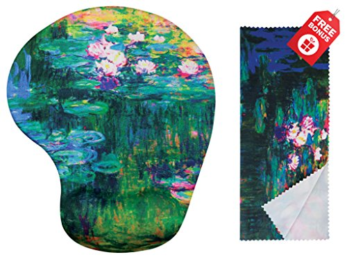 Claude Monet Water Lilies VI Ergonomisches Design Mauspad mit Handgelenkauflage Gel Handauflage. Passendes Mikrofaser-Reinigungstuch. Mauspad für Laptop, PC Computer und Mac
