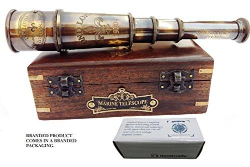 US HANDICRAFTS Dollond London 1920 Marine-Sammler dA © COR Wasser Spyglass Antike aus massivem Messing 15 Zoll Piraten-Teleskop mit Holz runzeln Box montiert.