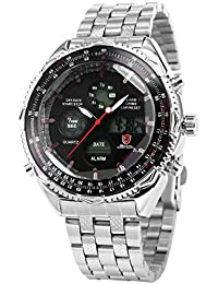 Shark SH111 - LCD Reloj Hombre de Cuarzo, Correa de Acero Inoxidable Plateado, Esfera Negra