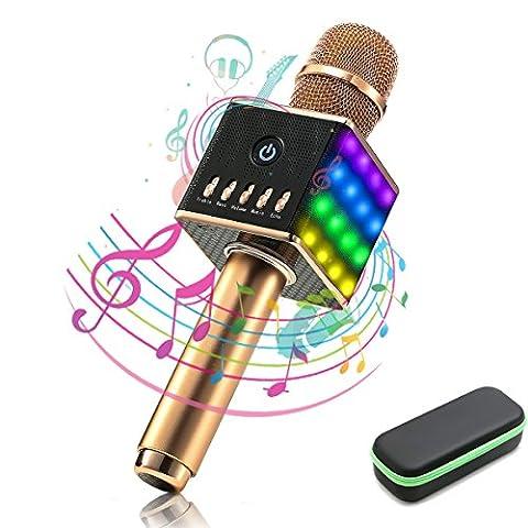 Microphone Sans Fil, NASUM Karaoke Player Bluetooth avec Haut-Parleur Intégré et LED Lampe Coloré Dynamique, Batterie de 2600mAh, Micro Karaoké Portable Bluthooth, Idéal pour KTV Bar Party Voyage OR