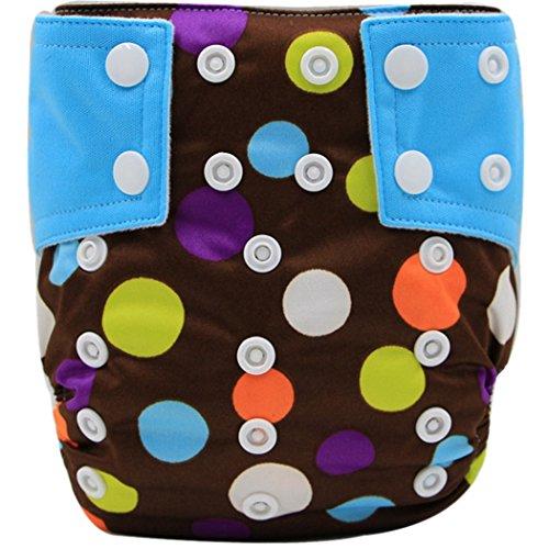 Wiederverwendbare Waschbare Größe Verstellbare Babywindeln Baby Jungen Windelhose Baby-Tuch-Windel Cloth Diapers Weich und Lecksicher - Gepunkt Braun