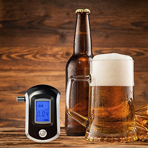 OMorc Alkoholtester, Professionelle Atemalkohol-Tester Halbleiter Sensor Alkoholmessgeräte mit LCD Display & 20 Mundstücke - 5