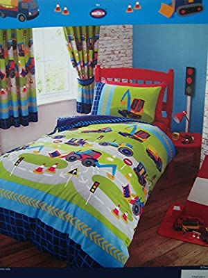 Diggers, Tractors & Trucks Junior / Cot Bed Duvet Cover Set Including Pillowcase - 120cm x 150cm by Kids Club - low-cost UK light shop.