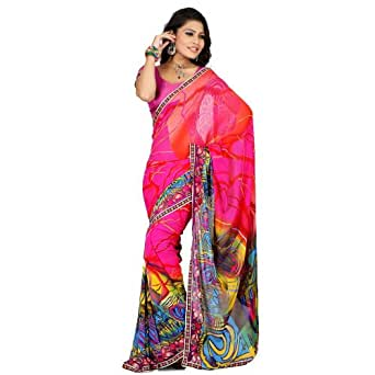 Kalazone Pink Faux Georgette Embroidery Printed Lehariya Saree