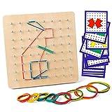 Coogam Geoboard di Legno con Carte di Pattern di attività e Bande di Gomma - 8x8 Pin Geometria Geoboard Montessori Forma Puzzle Tavola Ispira l'immaginazione e la creatività del Bambino