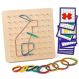 Coogam Geoboard di Legno con Carte di Pattern di attività e Bande di Gomma – 8×8 Pin Geometria Geoboard Montessori Forma Puzzle Tavola Ispira l'immaginazione e la creatività del Bambino