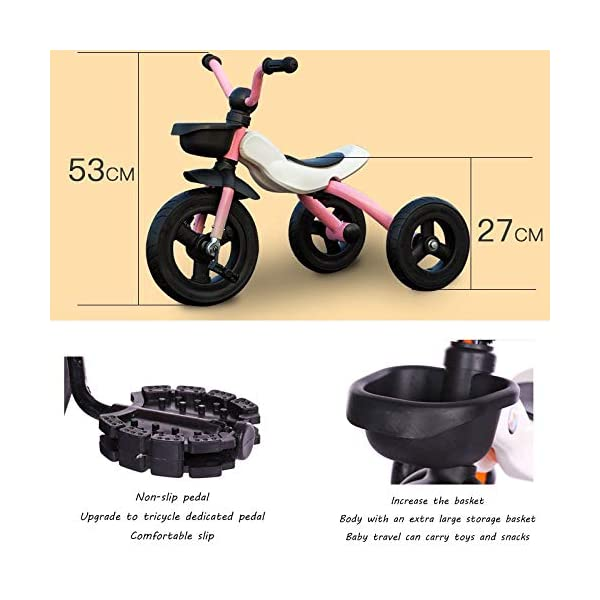 BGHKFF Children's Pedal Tricycle 2 To 6 Years Non-slip Handles Childrens Tricycles Anti-slip Pedals Pleasantly Padded Seat Childrens Folding Tricycle Maximum Weight 25 Kg,Pink BGHKFF ★Material: High carbon steel frame, suitable for children aged 2-6, maximum weight 25 kg ★Safe design: golden triangle structure, safe and stable ★Scientific design function: foldable body; comfortable soft seat; detachable rear wheel; metal connector; non-slip grip; non-slip pedal; 2