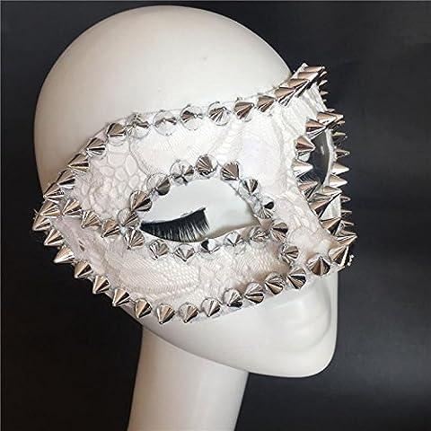 HUAXI Mano su misura, rivetti mezza maschera, maschera di punk, palco spettacoli maschera, mascherina del partito, festa maschera , silver