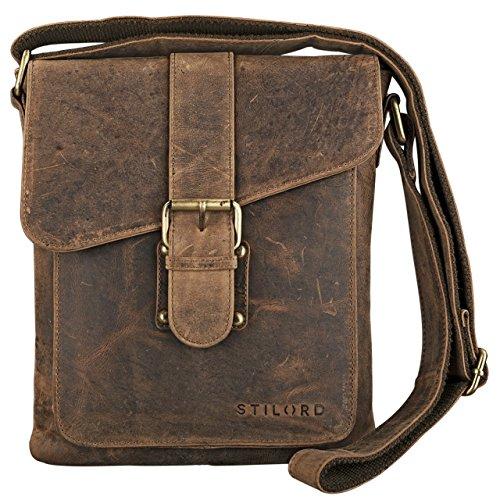 STILORD 'Mattia' kleine Umhängetasche Herren Leder Vintage iPad Hülle 10,1 Zoll Tablettasche Schultertasche Messenger Bag Rindsleder Antik, Farbe:mittel - braun -