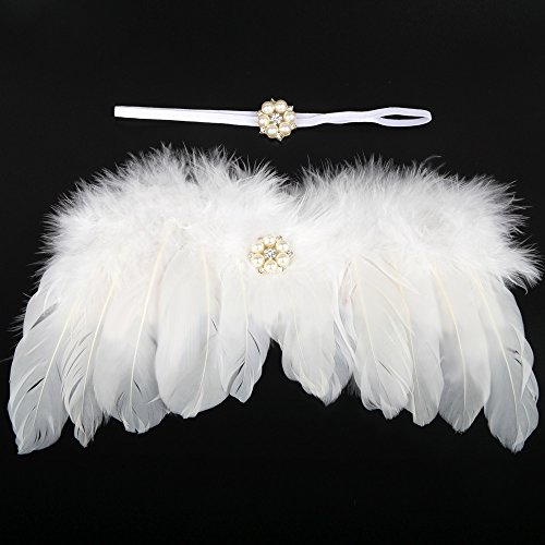 UGUAX Stirnband für Neugeborene, mit Federflügeln, für Fotoaufnahmen, -