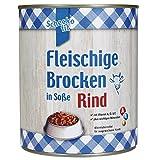 Fleischiges Nassfutter in Soße mit Rind 6 x 800g = 4,8kg Kräftiges Nassfutter aus größeren Brocken nur 4,6 % Fettanteil eine solide, gute Qualität