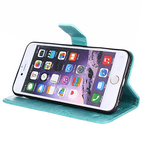 Custodia iPhone 6S Plus, iPhone 6 Plus Cover, ikasus® iPhone 6 Plus/iPhone 6S Plus Custodia Cover [PU Leather] [Shock-Absorption] Goffratura Fiore Farfalla e Datazione Ant Protettiva Portafoglio Cover Verde