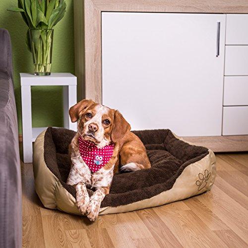 TecTake Hundebett 80 x 60 x 18cm Hundekissen Hundesofa Schlafbett braun - 2