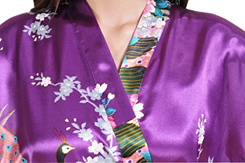 Waymoda Women's Luxury Silky Satin Nightwear Dressing Gown, Peacock and Blossoms Pattern Kimono Pajamas, 10+ Color, 5 Sizes Optional - Long style Dark Purple