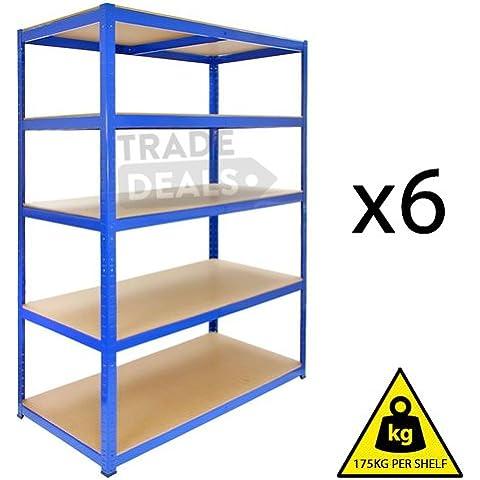 6 pezzi, resistenti, Boltless deposito/Garage/Shed/casa/negozio, commerciale, Titan-Scaffale/Bay, 175 kg a mensola, colore: blu, 120 cm (L) x 45 cm (P) .. 180 cm.