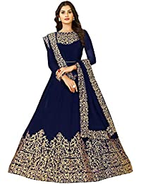 FKART Women's Georgette Semi-stitched Anarkali Salwar Suit with Dupatta (Royal Blue, Free Size)