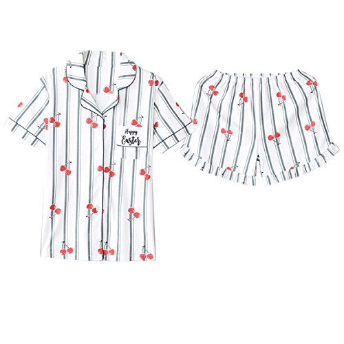 Nawoshow Frauen süße Frucht Print Shorts Pyjama Set Soft Loungewear (Kirsche, Tag 2XL(EU XL)) (Pyjama Bund Print Set Elastischer)