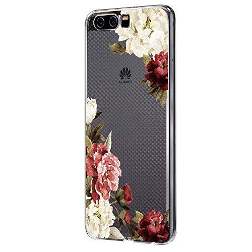 Pacyer Huawei P10 Hülle Silikon Ultra dünn Transparent Handyhülle Huawei P10 Schutzhülle Silikon Rückschale TPU für HUAWEI P10 Case Cover Rot Blume Mädchen Macaron (Blumen 3)