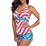 Jaminy Zweiteilig Gebunden Strandmode Bikinioberteil Amerikanisch USA Flagge Drucken Frau Bandage Badeanzug Bademode Strandkleidung Bandeau Strandmode Bikini Set (Rot, XXL)
