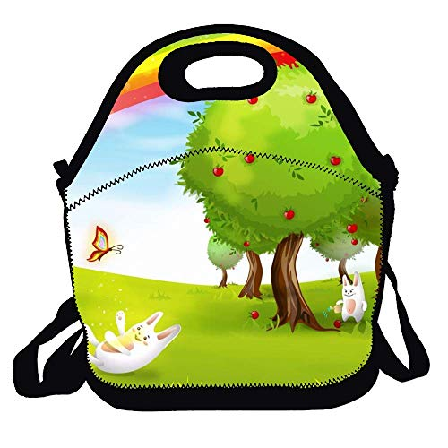 Lunch Box Bag for Kids And Adult, Cartoon Animals Lunch Tote Lunch Holder with Adjustable Strap for Men Women Boys Girls