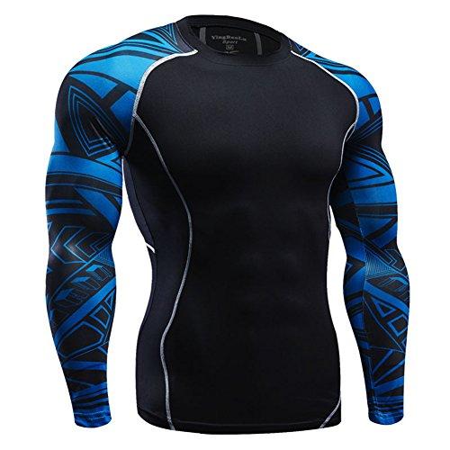 Fitibest t shirt uomo manica lunga compressione sportiva girocollo per corsa fitness