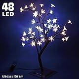 albero di ciliegio luminoso natale per interno da tavolo appoggio 48 LED altezza 50 cm con base punte luci fiori doppio colore bianco freddo e bianco caldo naturale