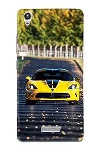 Omnam Yellow Car Printed Designer Back Cover Case For Lava Pixel V1