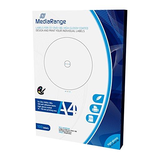 MediaRange Etiketten für CD|DVD|BD, 15-118mm, hochglänzend, 100er Pack -