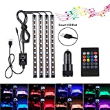 Car LED Strip Lights, Speclux 48 LED Car Interior Lighting Atmosphere Lights Mood Lights, Multicoloured, Sound Active Function and Wireless Remote Control