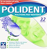 Polident - Pulitore Per Dentiera, Elimina il 99,9% dei Batteri causa del Cattivo Odore, Veloce ed efficace, Pulizia Profonda -  32 Compresse