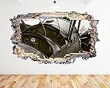 tekkdesigns N247Cockpit Flugzeug Vintage Old zerstörten Wand Aufkleber 3D Kunst Aufkleber Vinyl Zimmer (groß (90x 52cm))