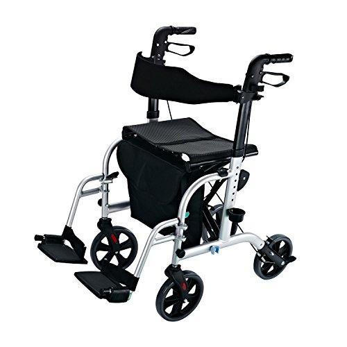 Homcom 2 in 1 Rollator Rollstuhl Alu Transportstuhl Gehhilfe höhenverstellbar klappbar