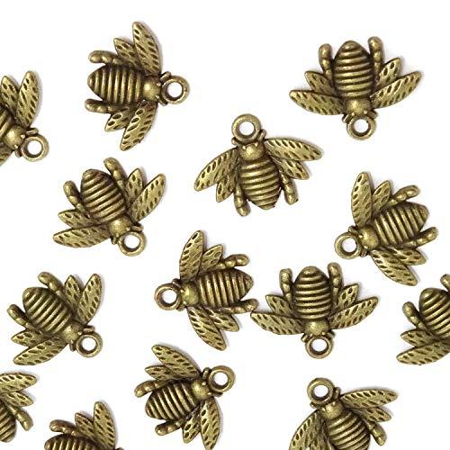 Super Idee 50stk. Antike Bronze Vintage Bienen mit Ösen Deko Taufe Konfirmation Deko Streudeko DIY Halskette Anhänger für Handgemachten Schmuck Machen Hochzeit Geburtstagsparty Partyzubehör (Schmuck Halskette Machen)