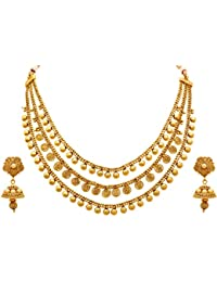 Jfl - Jewellery For Less One Gram Gold Plated Spiral Necklace Set / Jewellery Set With Jhumka Earring For Women
