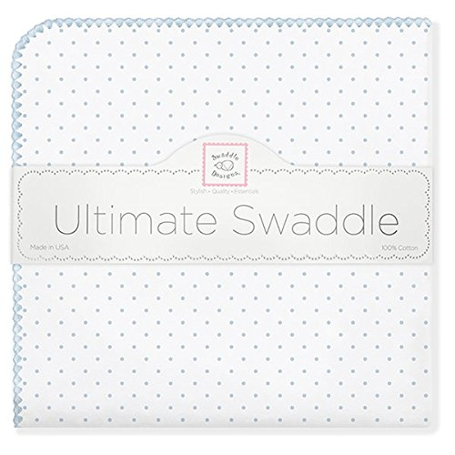 SwaddleDesigns Ultimate Receiving Blanket, Polka Dots, Pastel Blue (japan import)