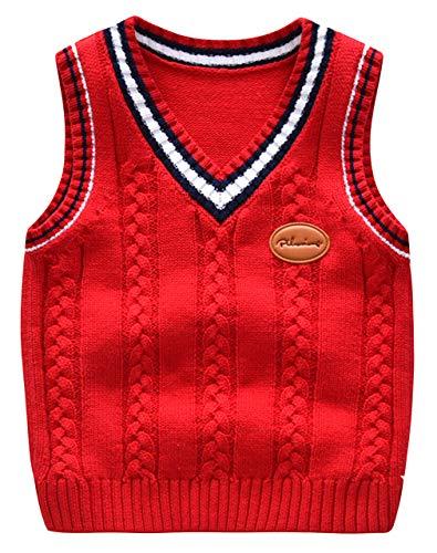 Cloud Kids Unisex Strickweste Jungen Mädchen V-Ausschnitt Uniform Pullover Baumwolle Weste Top Ärmellos Sweater Rot Körpergröße 90cm