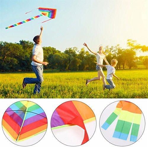 LKXHarleya Kinder Im Freienregenbogen Drachen Stabiges Dreieck Bunter Fliegen-Drachen mit Langem Endstück
