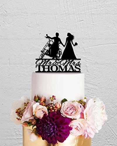 qidushop Motorrad, Mr and Mrs, Braut und Bräutigam, Tortenaufsatz, lustiger Tortenaufsatz für die Hochzeitstorte, Hochzeitsgeschenk, Dekoration, Brautparty-Geschenke