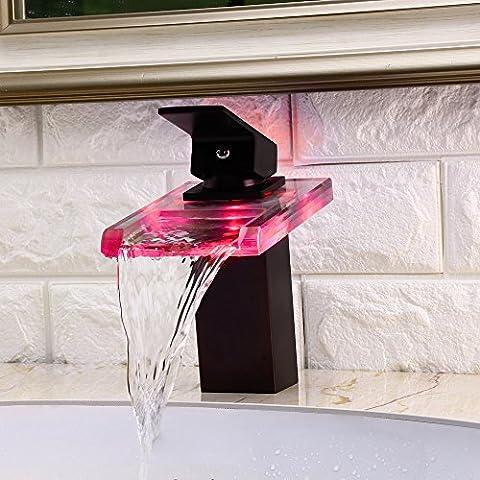 Jiayoujia LED clara 1-Handle Mono baño grifo de Lavabo en cascada de cristal Orb