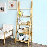 SoBuy® Estantería libreria de bambú,Estantería de diseño,Estantería de esquina, FRG61-B-N, ES