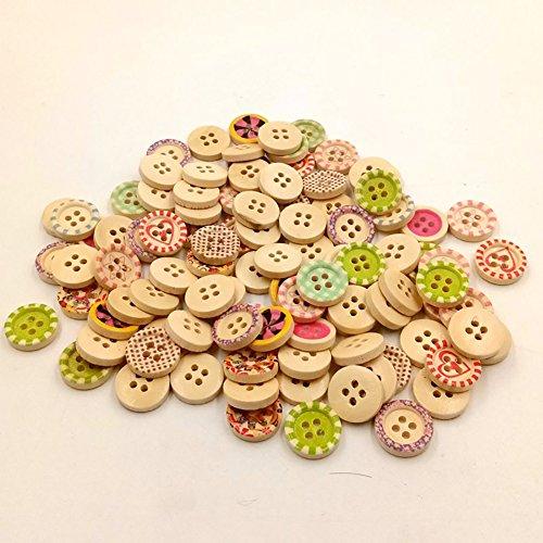 Feida bottoni in legno misti colorati fori rotondi per cucito diy crafts pulsante manuale per bambini pittura, fai da te a mano ornamento di colore casuale