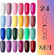 Vishine Gel Nail Polish 24 Colors Set Soak Off Gel Nail Polish Kit Nail Art Manicure Pedicure New Starter Pretty Color Colle