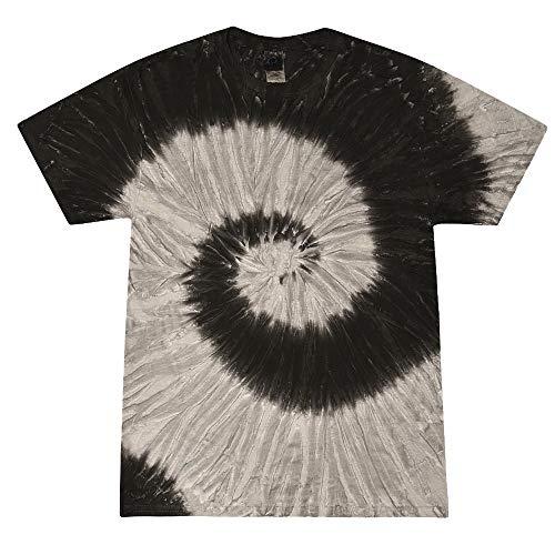 Rasta Kostüm Männer - Colortone - Unisex Batik T-Shirt 'Swirl' / Black Rainbow, XXL