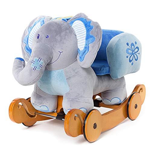 Labebe 2-in-1 cavallo a dondolo per bambini - elefante blu, in legno con imbottitura in stoffa, animale a dondolo