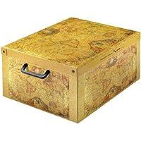 LAVATELLI Caja de Almacenamiento en cartón, Montaje Muy facil, práctica y Decorativa, con manejas, tamaño Medio diseño Marco Polo