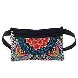 Bliefescher Damen Retro-Gürteltasche Blumen Muster Bauchtasche Hüfttasche Geldbeutel Vintage Abendtasche (Typ 2)