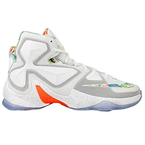 Nike Lebron Xiii, Chaussures de Sport-Basketball Homme, Taille Blanc / orange / gris / argenté (blanc / platine pur - mangue éclatante - vert action)